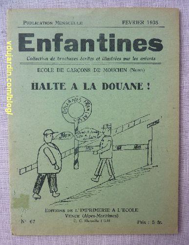 Couverture de la revue Enfantines, n° 67, halte à la Douane à Mouchin