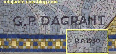 Niort, église Saint-Etienne-du-Port, 8, la signature GP Dagrant de la mosaïque