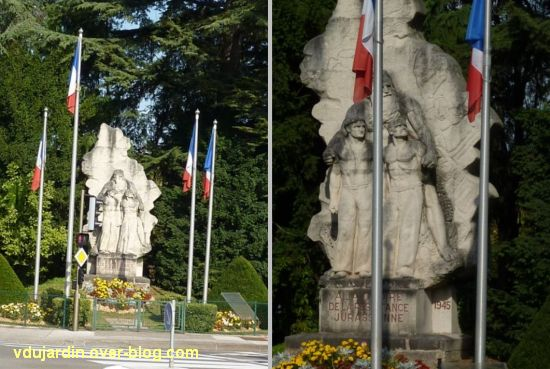 Lons-le-Saunier, monument aux résistants du Jura, 1, deux vues de face