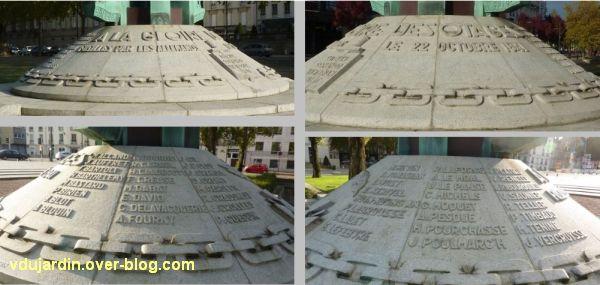 Nantes, monument des cinquante otages, 6, inscriptions sur le socle
