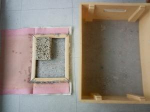 Fabrication du papier, phase2, pâte mixée et étendage sur lavette
