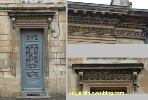 Niort, maisons des 26, 28 et 30 rue Alsace-Lorraine, 4, porte, corniche et linteau des 28 et 30