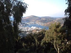 L'île de Patmos vue depuis le monastère