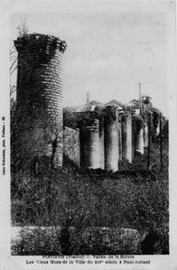 Carte postale ancienne, le rempart entre Blossac et la Boivre à Poitiers, carte postale ancienne