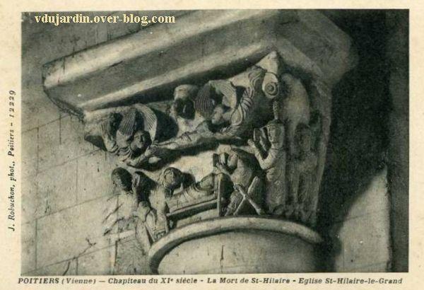 Poitiers, le chapiteau de la mort d'Hilaire, carte postale ancienne