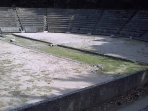 Rhodes, acropole du mont Smith, le système de starter du stade