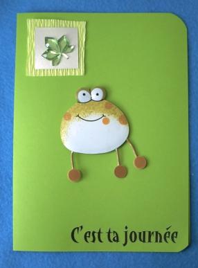 Carte avec grenouille pour l'anniversaire de Emmanuelle