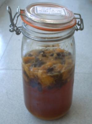 Ma liqueur de pissenlit après un mois de fermentation