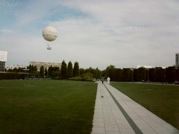 Paris, parc Citroën, la partie centrale et le ballon captif