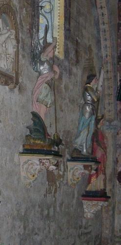 Saint Michel sainte Jeanne-d'Arc et sainte Marguerite d'Antioche, statues, église Saint-Nicolas de Civray (Vienne)