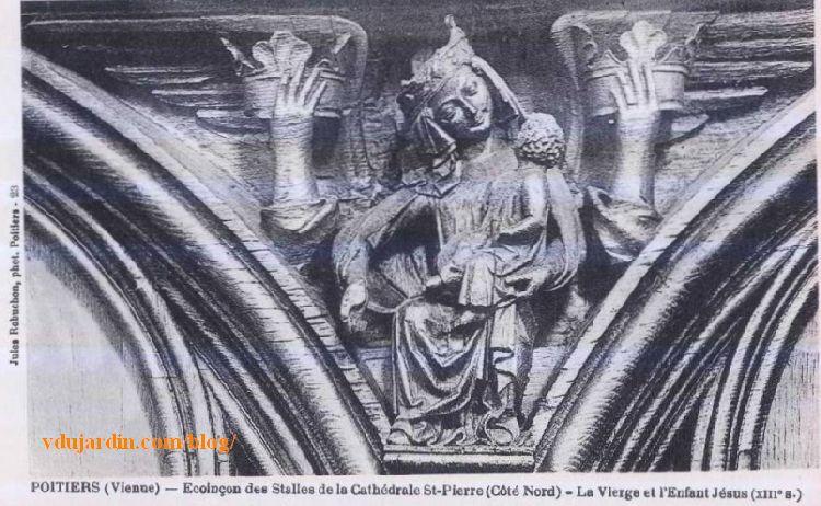 Stalles de la cathédrale de Poitiers, Vierge à l'enfant, carte postale ancienne de Jules Robuchon