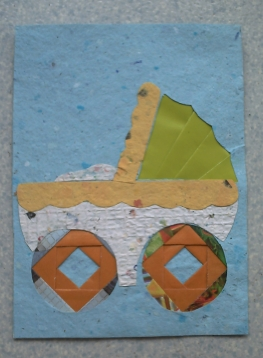 Carte de naissance, berceau en iris folding