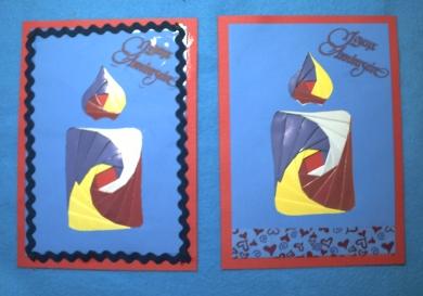 Deux cartes d'anniversaire en iris folding