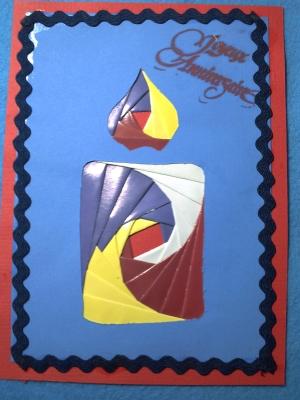 Une des cartes en iris folding