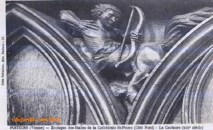Stalles de la cathédrale de Poitiers, centaure, carte postale ancienne de Jules Robuchon