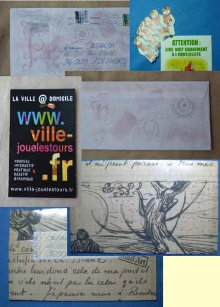 les enveloppes recto et verso, les cartes à publicité et les accessoires scrap de noël envoyés par Véro bis