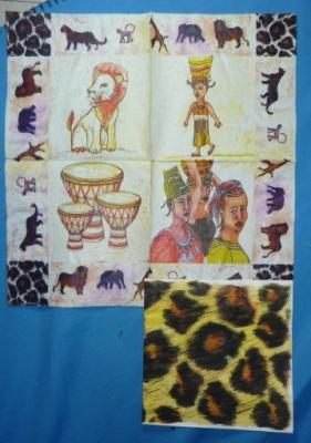 Mon anniversaire vu par Cathou, serviettes au thème de savane