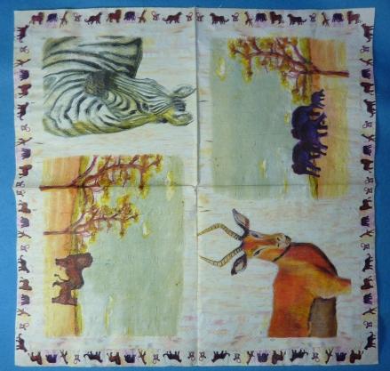 Mon anniversaire vu par Cathou, autres serviettes au thème de savane