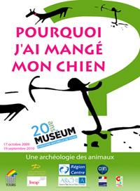 Affiche de l'exposition pourquoi j'ai mangé mon chien au muséum d'histoire naturelle de Tours