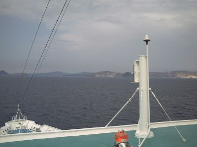 L'arrivée à Santorin, la caldera
