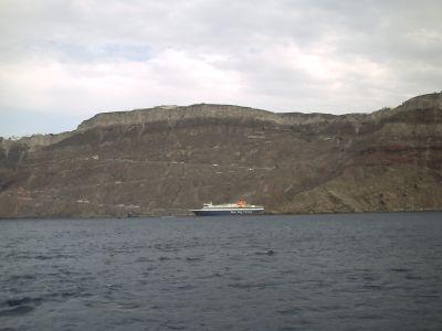 L'arrivée à Santorin, la descente du bateau