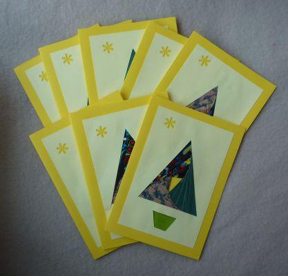 Série de cartes sapins pour la nouvelle année 2010 : sapin en iris folding