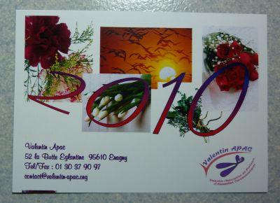Carte de voeux 2010 de l'association Valentin Apac