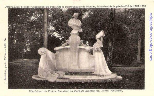 Poitiers, le monument au comte de Blossac par Sudre, carte postale ancienne