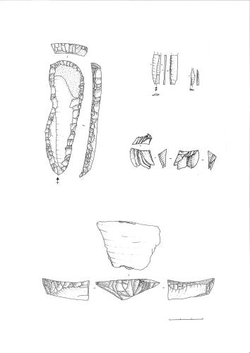 Planche de silex aurignaciens provenant de La Quina aval à Gardes-le-Pontaroux, dessin V. Dujardin