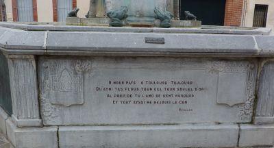 Toulouse, fontaine Belle Paule, un poème en occitan de Mengaud
