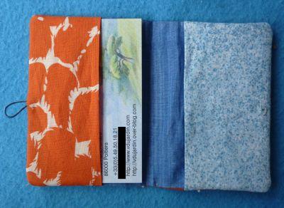 Un porte-carte en tissu, ouvert