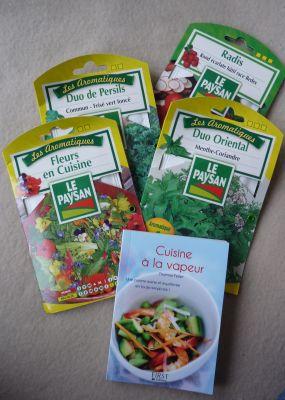 Echange de printemps, l'envoi de Mariette, les graines et le livre de recettes