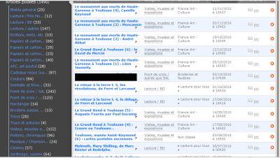 Saisie d'écran des articles programmés en fin d'année 2010
