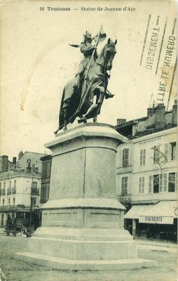 La Jeanne-d'Arc de Mercié à Toulouse, carte postale écrite en 1924