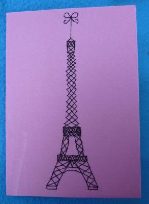 Carte brodée d'une tour Eiffel pour Miss Fil
