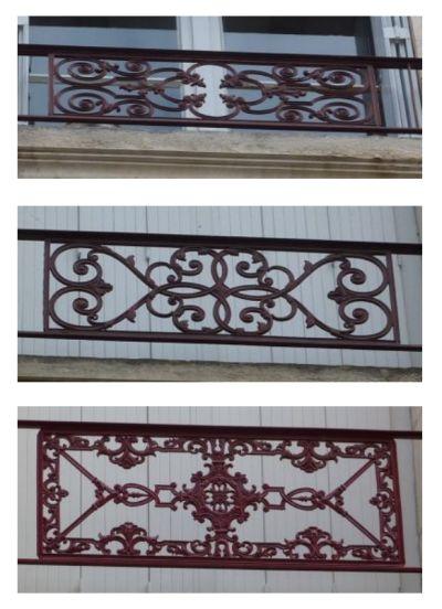 Poitiers, garde-corps en ferronerie avec motifs végétaux et géométriques