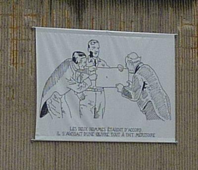 Glen Baxter à Poitiers, été 2010, cour du musée, deuxième sérigraphie