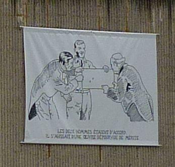 Glen Baxter à Poitiers, été 2010, cour du musée, troisième sérigraphie