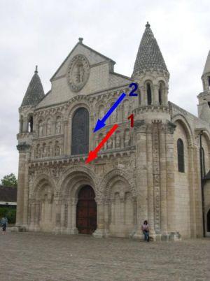 Façade de Notre-Dame-la-Grande à Poitiers, position de deux dragons