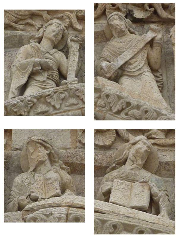 Façade de Notre-Dame-la-Grande à Poitiers, détail de chacun des quatre prophètes