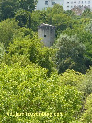 Poitiers, le rempart sud, la tour de Vouneil vue depuis le pont Achard