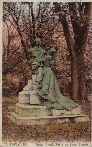 Le Grand-Rond à Toulouse, monument à Auguste Fourès par Paul Ducuing, carte postale ancienne colorisée