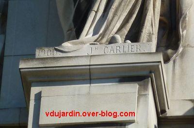 Tours, hôtel de ville, signature des cariatides J. Carlier