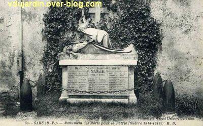 Monument aux morts de Sare par Réal del Sarte, carte postale ancienne