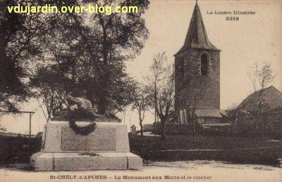 Monument aux morts de Saint-Chély par Réal del Sarte, carte postale ancienne