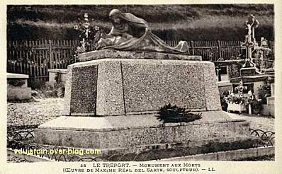 Monument aux morts du Tréport par Réal del Sarte, carte postale ancienne