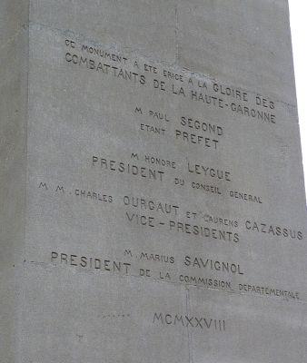 Toulouse, le monument morts de Haute-Garonne, dédicaces