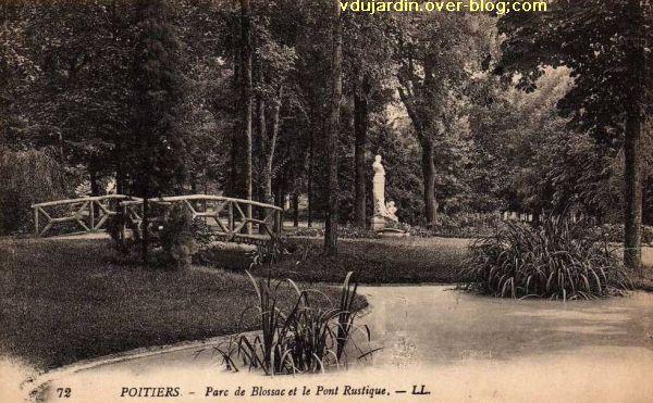 Poitiers, carte postale ancienne, le parc de Blossac, le pont et Perrault par Sudre
