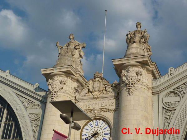 Tours, la gare, partie centrale de la façade, 3, Bordeaux et Toulouse de face
