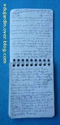 Carnet de notes, page sur Strasbourg